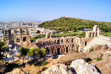 Ancient Greek theatre at the Acropolis with Athens view