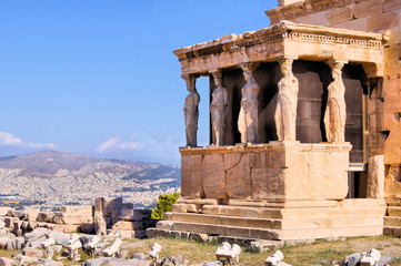 Ancient Porch of the Caryatids overlooking Athens