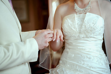 married pair with a beautiful wedding ring