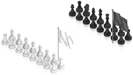 Chess battle with white flag