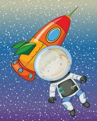Garden Poster Cosmos boy and rocket