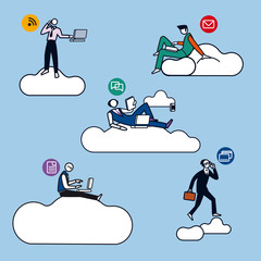 Cloud Computing Men Silhouettes color