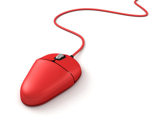 red computer mouse on a white background
