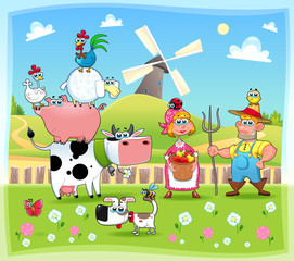 Poster Ranch Funny farm family. Cartoon and vector illustration.