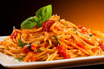Photo Stands Ready meals Pasta with tomato sauce and parmesan