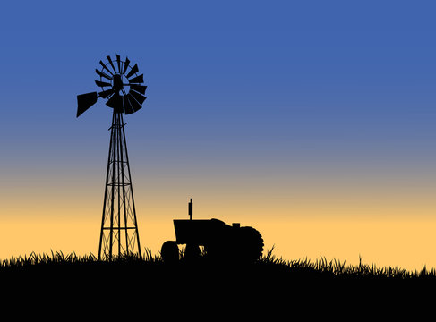 Farm tractor with windmill