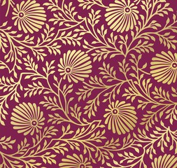 traditional floral pattern, textile design, costume , India