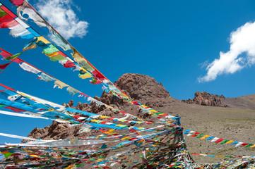 Tibetan Prayer Flags With Blue Sky