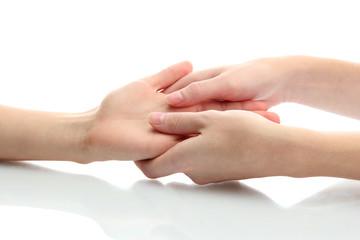 Hand massage, isolated on white
