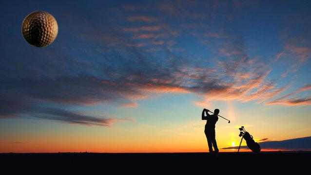 A man playing golf