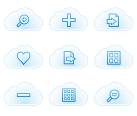 Image viewer web icons set 1, cloud buttons