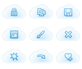 Image viewer web icons set 2, cloud buttons