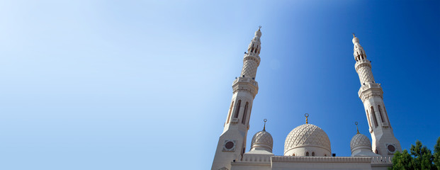 The upper part of the mosque in Dubai
