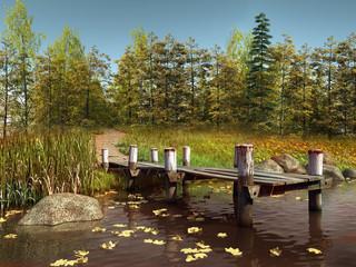 Wall Mural - Molo nad jeziorem przy jesiennym lesie