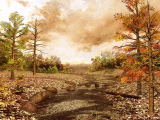 Wall Mural - Niewielki strumyk płynący przez las