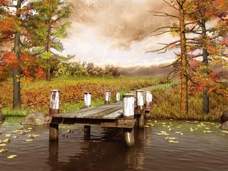 Wall Mural - Jesienna łąka i molo nad jeziorem