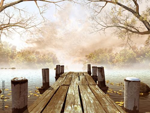 Wall mural Jesienna sceneria z drewnianym molo na jeziorze
