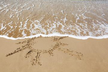 Sun drawn on the sandy beach.