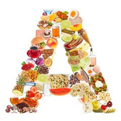 Letter A made of food