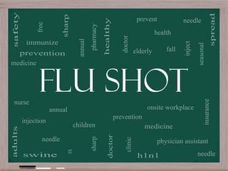 Flu Shot Word Cloud Concept on a Blackboard