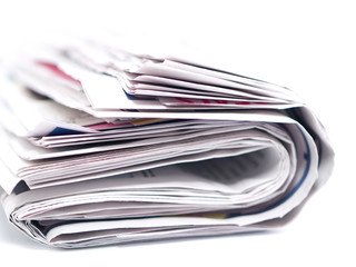 Newspaper Folded and Isolated on White