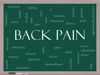 Back Pain Word Cloud Concept on a Blackboard