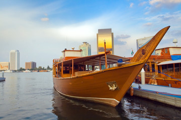 The boat in the Arabian style, moored in the port of Dubai