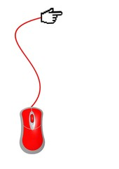 Red computer mouse with hand cursor