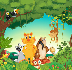Poster de jardin Forets enfants Animals in the forest