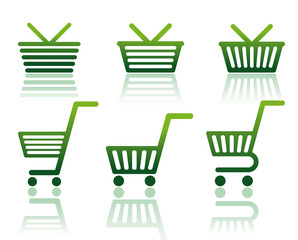 Icons of carts and baskets for shopping