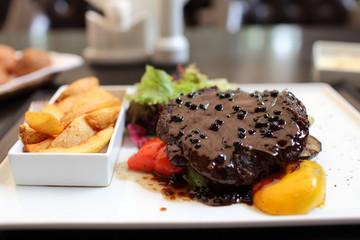 Pepper steak with vegetables