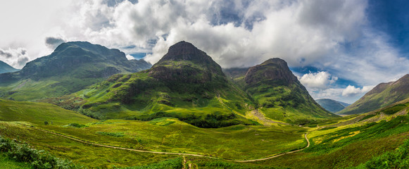 Big panorama in in the Scotland highlands