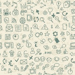 doodle web media and social media icons