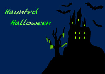 Haunted Halloween Castle with English text