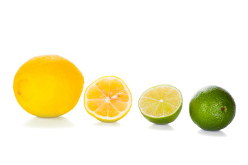 Lemon and Lime isolated on white