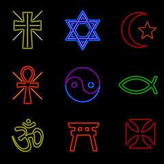 Neon Religious Symbols
