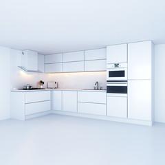 Modern kitchen cabinets in new white interior