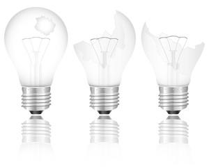 broken light bulbs set
