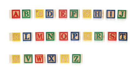 An Alphabet made of wodden bricks
