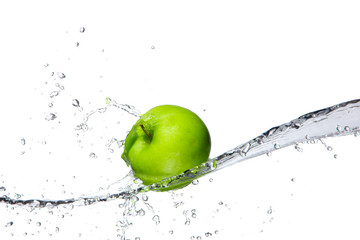 Deurstickers Opspattend water Fresh apple with water splashing, isolated on white background