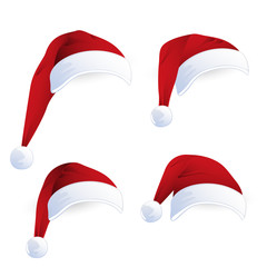 Vector Illustration of Red Santa Hats