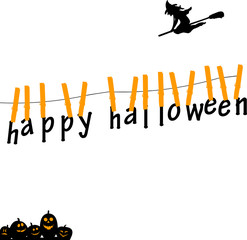 Happy halloween cards hanging from on a rope with clothespins
