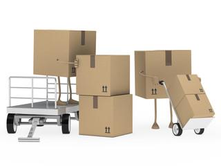 packages figure unload trolley