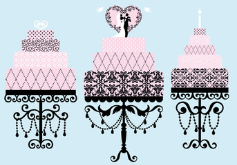 wedding and birthday cakes, vector