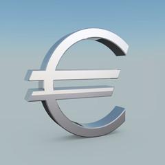 3D Metallic Euro Symbol