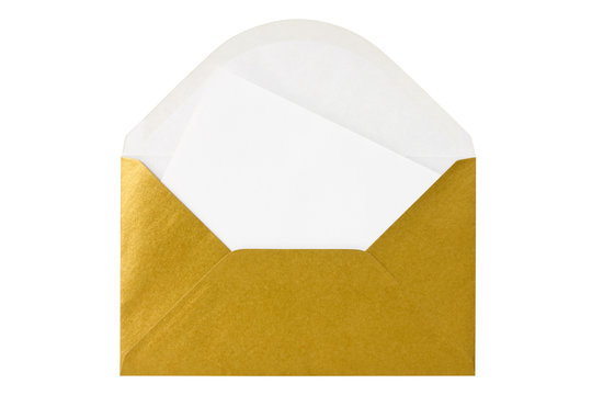 Gold envelope with blank letter