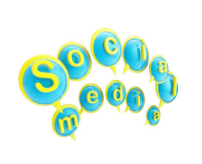 """Word """"social media"""" made of text bubbles"""