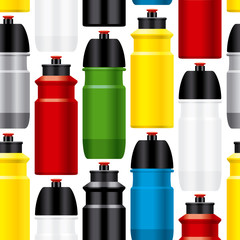 Seamless bicycle water bottles pattern