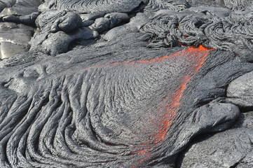 Flowing lava from Kilauea volcano, Hawaii. April, 2012.