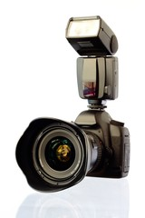 Digitale Spiegelreflexkamera Mit Blitz